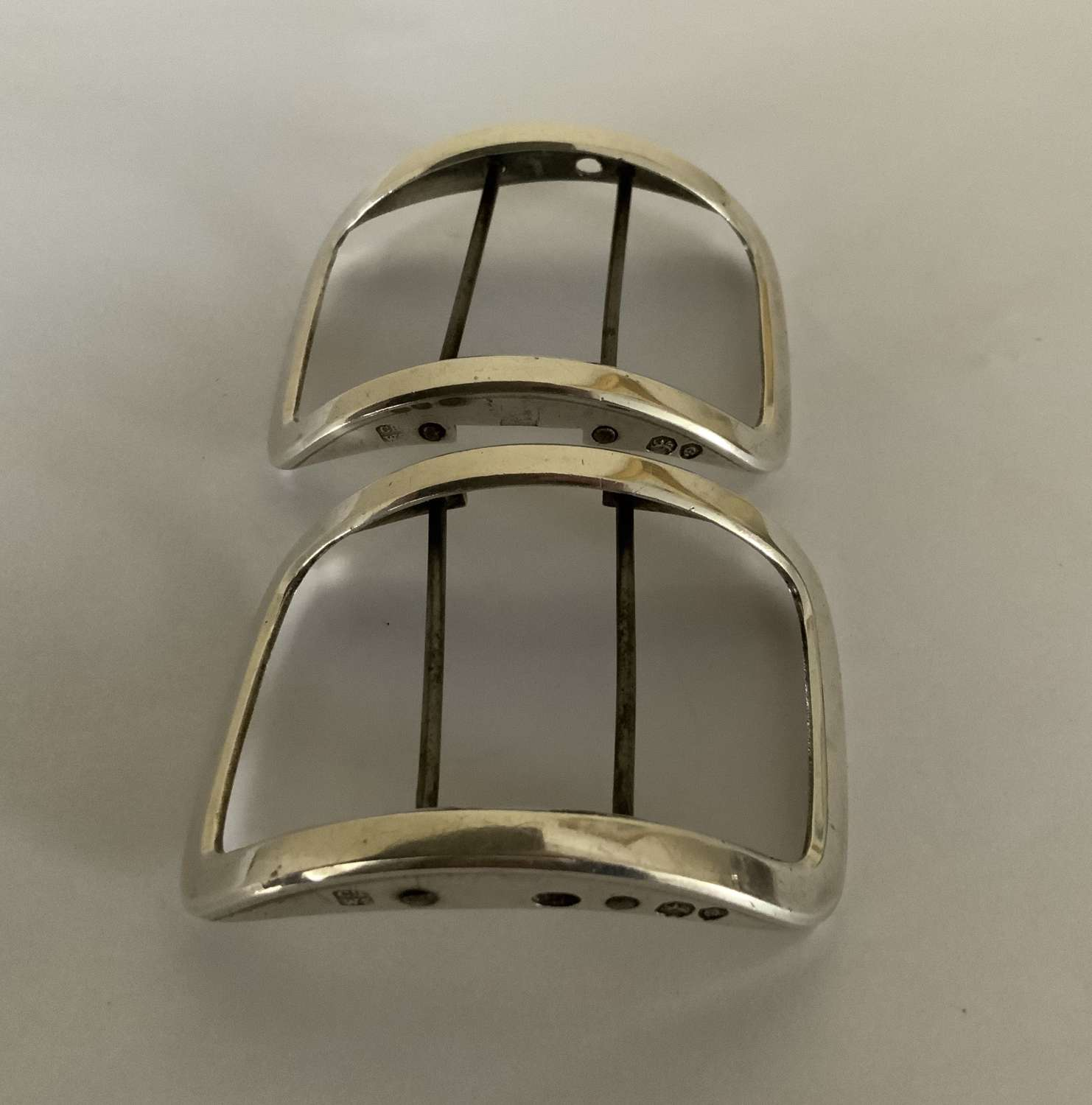Pair of silver fabric buckles 1831