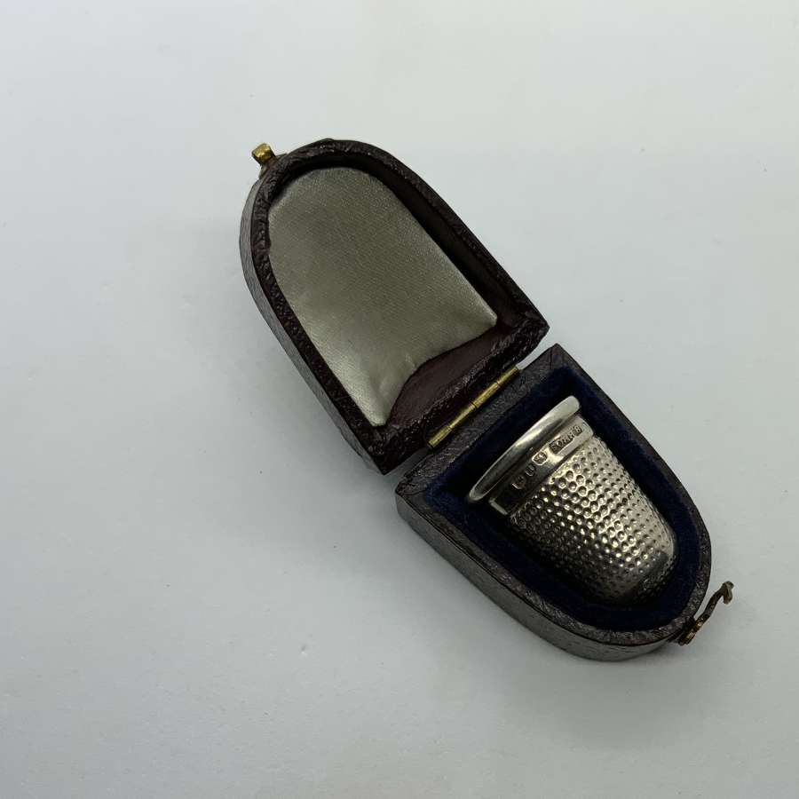 Silver thimble and case
