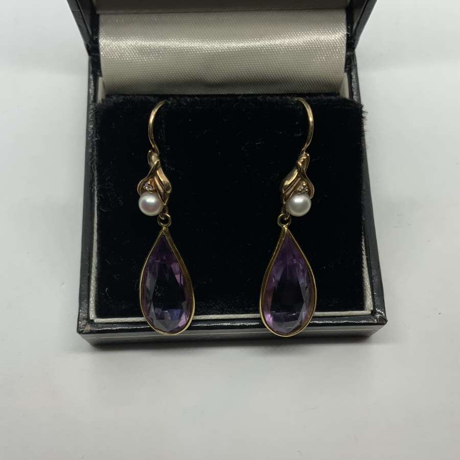 Amethyst & pearl drop gold earrings