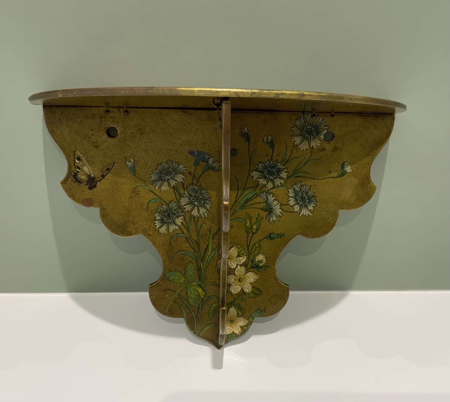 Victorian painted lacquered folding wall shelf