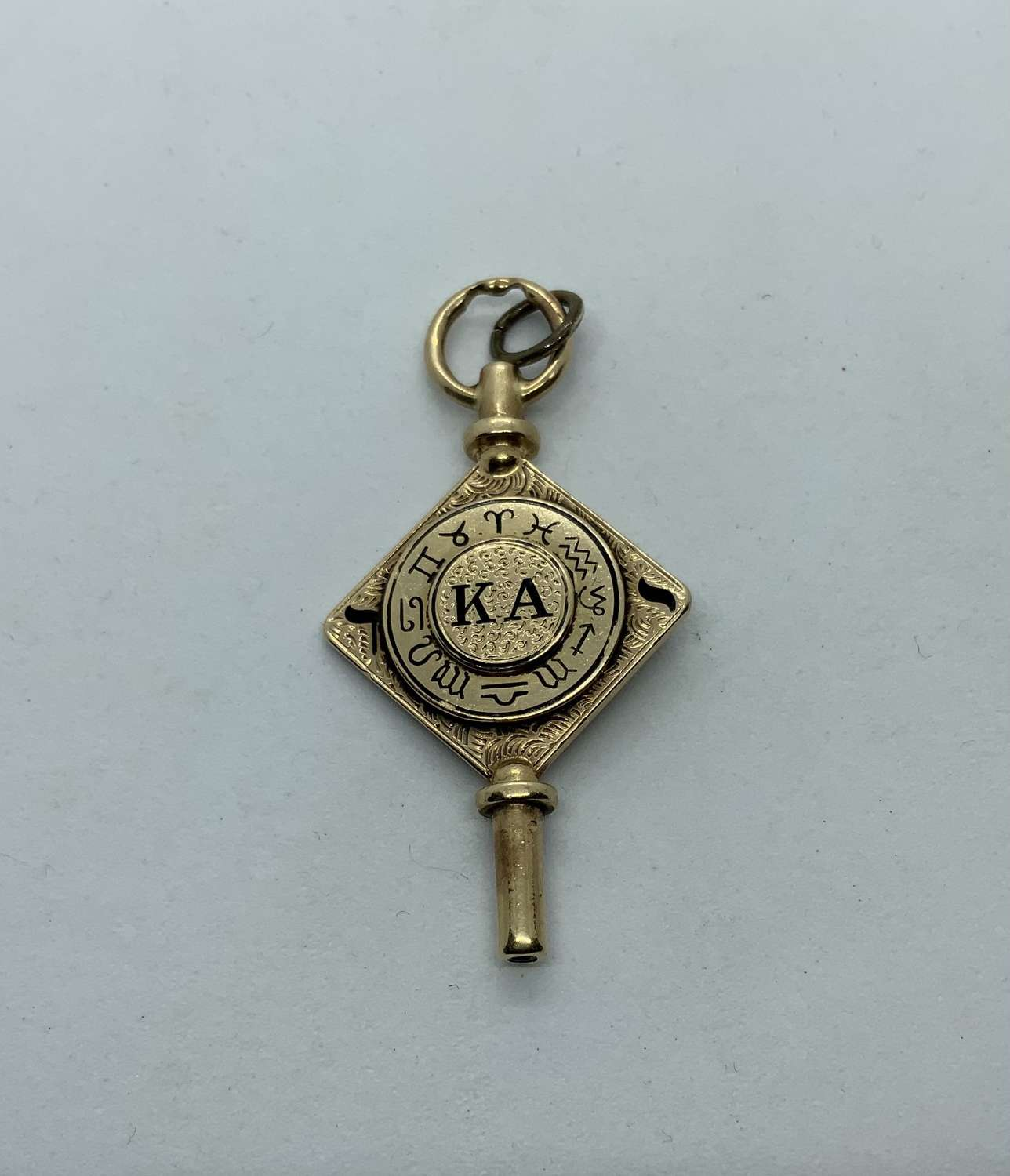 Kappa Alpha Fraternity 14ct gold watch key fob