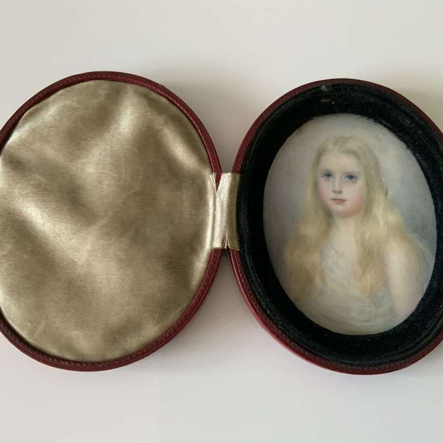 Late 19th century miniature of a young girl
