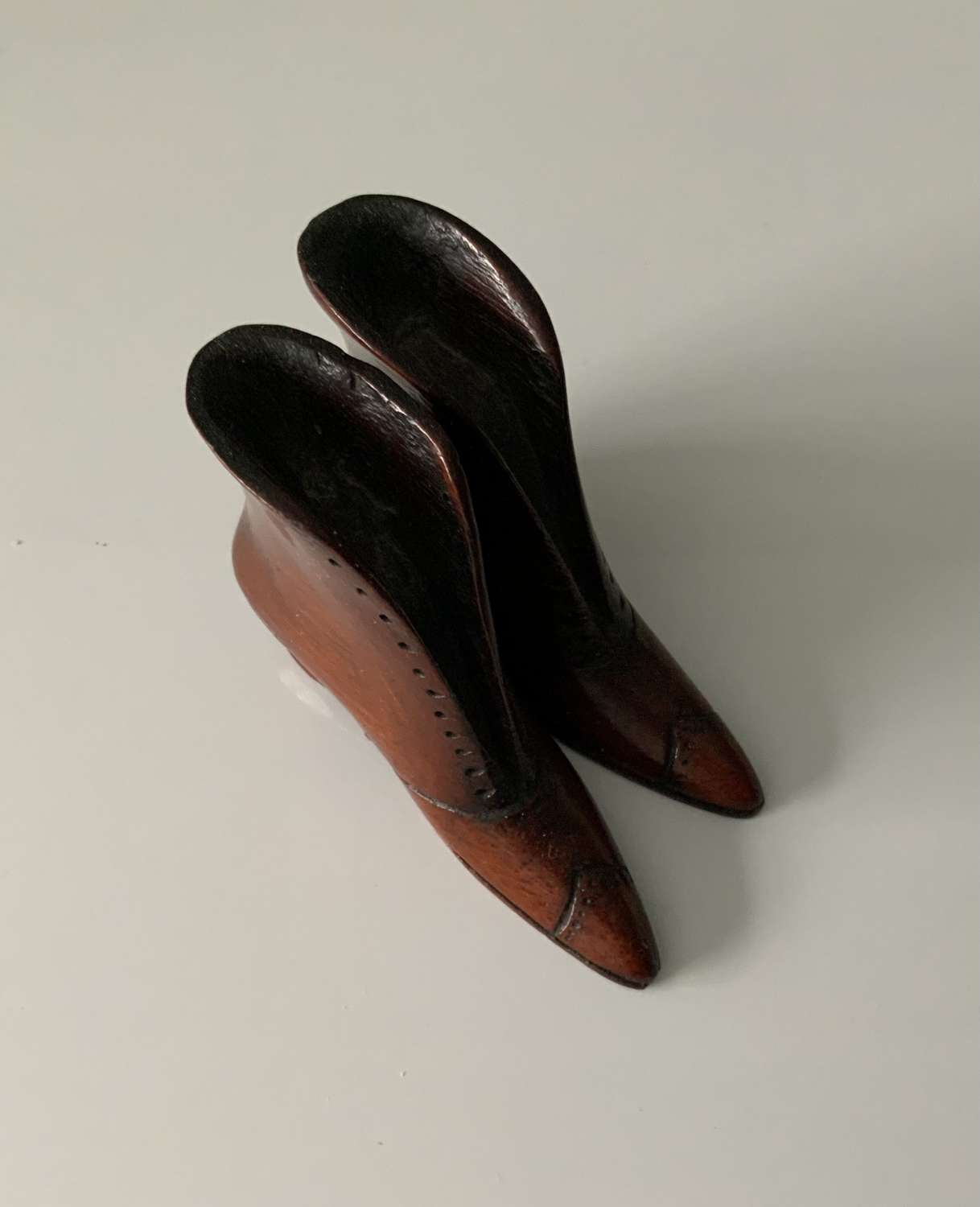 Stunning pair of miniature wooden shoes