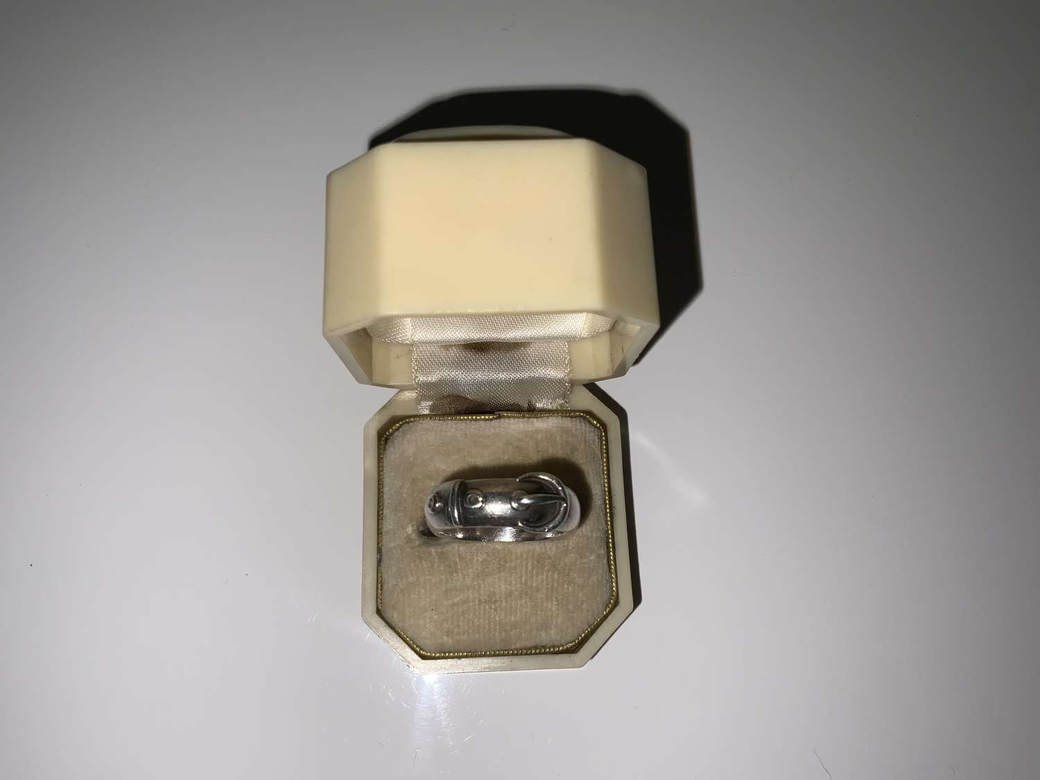 Victorian silver buckle ring