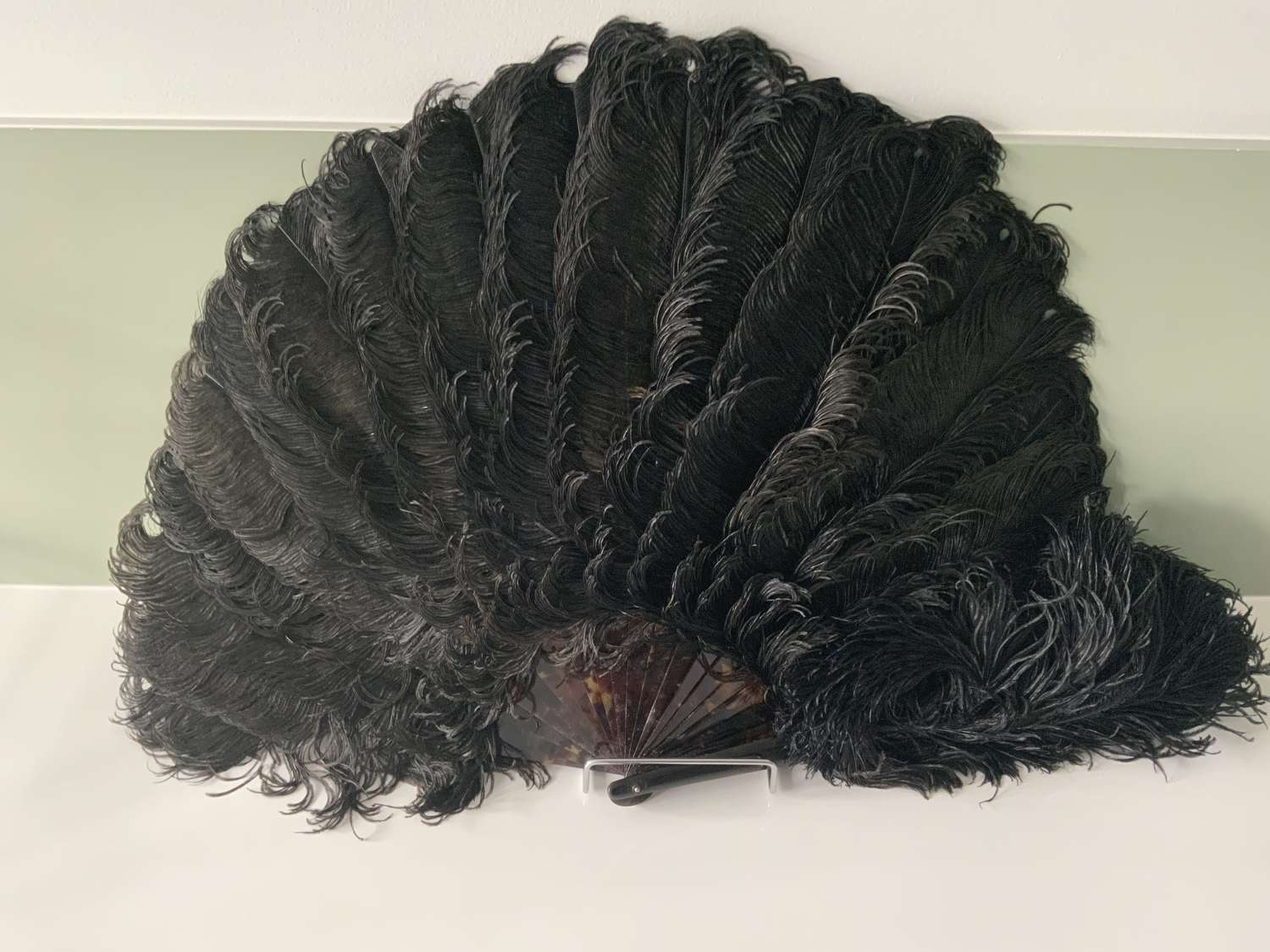 Antique black ostrich feather fan