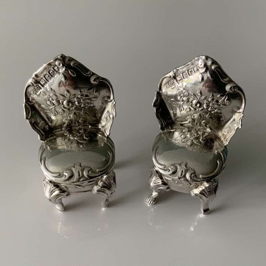 Miniature French silver chairs