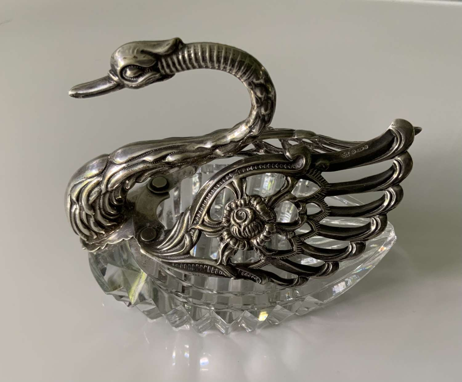 Silver swan and glass salt